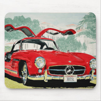 Mercedes benz sl 300 oldtimer car with open doors mouse pad