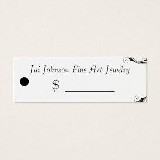 Merchandise Price Tags (Black & White Swirl) Mini Business Card