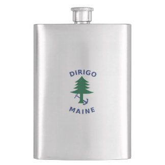 Merchant and Marine Flag of Maine Hip Flask