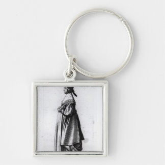 Merchant's Wife, 1640 Silver-Colored Square Keychain