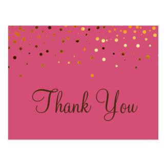 Merci à la mode de rose de scintillement d'or cartes postales