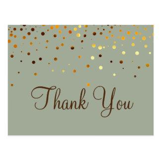 Merci à la mode de vert de scintillement d'or cartes postales