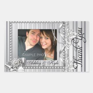 Merci argenté de photo d'arc épousant l'étiquette sticker rectangulaire