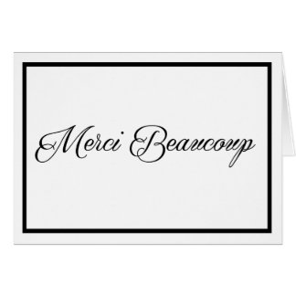 Merci Beaucoup card in black with black border