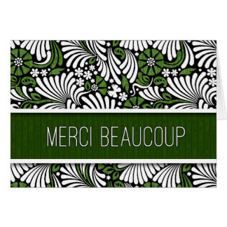 Merci Beaucoup French Thank You Green Fern Blank Card