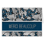 Merci Beaucoup French Thank You in Blue Blank Card