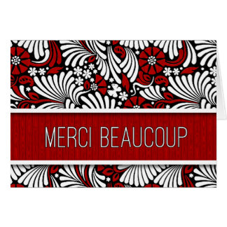 Merci Beaucoup French Thank You Red Fern Blank Card