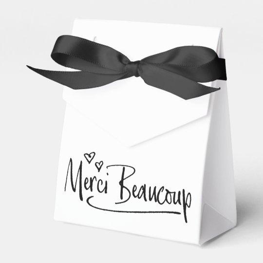 """""""Merci Beaucoup"""" Paris Doodle Sketch Baby Shower Wedding Favor Box"""