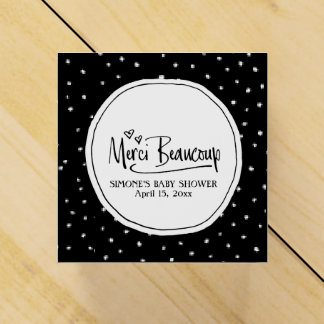 """Merci Beaucoup"" Paris Personalized Baby Shower Favor Box"