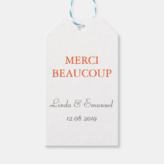 Merci Beaucoup Personalized Wedding Gift Tags
