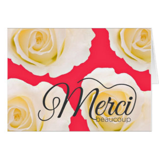 Merci Beaucoup Pink Roses Thank You Card