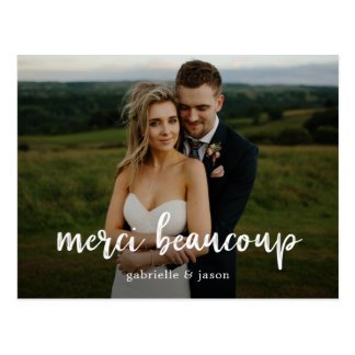 Merci Beaucoup Wedding Thank You Postcard