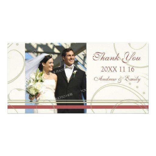 Merci beige rouge de remous épousant des cartes ph cartes de vœux avec photo