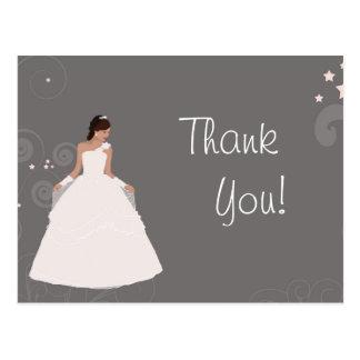 Merci blanc de robe de douche de fantaisie carte postale