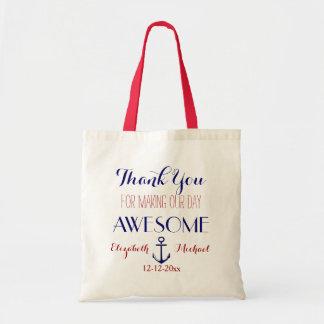 Merci bleu rouge Fourre-tout d'ancre nautique Sac En Toile Budget