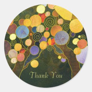 Merci d'affaires d'arbres d'amour sticker rond