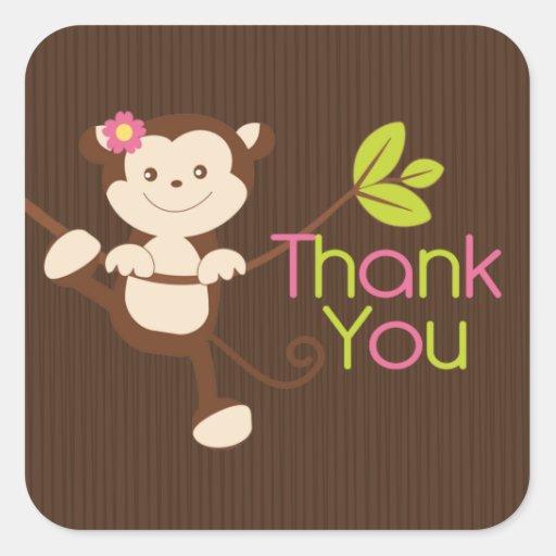 Merci de baby shower de fille de singe autocollants carrés