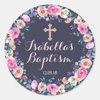 Merci de baptême croisé de roses pâles/fille de sticker rond