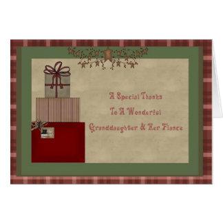 Merci de cadeau de Noël de petite-fille et de fian Cartes