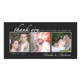 Merci de mariage dans le carte photo noir et blanc photocarte customisée