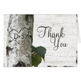 Merci découpé d'arbre de bouleau de coeur carte de correspondance