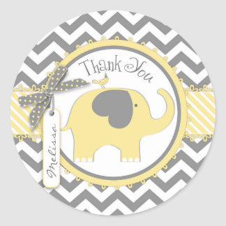 Merci d'impression d'éléphant jaune et de Chevron Sticker Rond