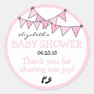 Merci donnant un petit coup rose de baby shower de sticker rond