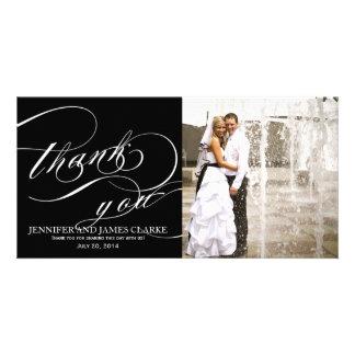 Merci élégant blanc noir de mariage de manuscrit carte avec photo