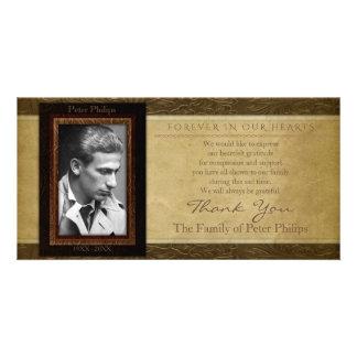 Merci en cuir de sympathie de photo de parchemin carte avec photo