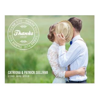 Merci fait sur commande de mariage de photo de cartes postales