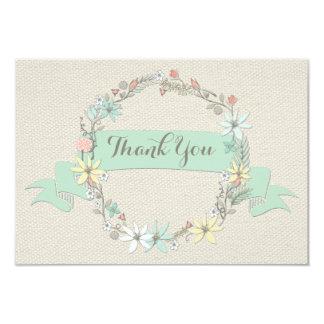 Merci floral chic de guirlande et de bannière carton d'invitation 8,89 cm x 12,70 cm