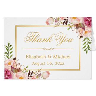 Merci floral chic élégant de cadre d'or carte de correspondance