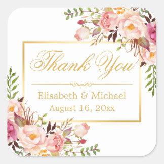 Merci floral chic élégant de cadre d'or sticker carré