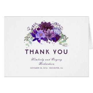 Merci floral pourpre et violet de prune de mariage carte
