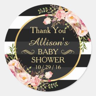 Merci floral vintage moderne de baby shower de sticker rond