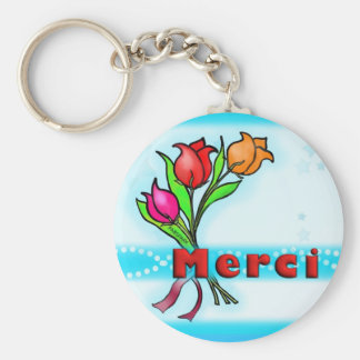 MERCI  French Thank You cartoon flowers keychain