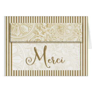 Merci French Thank You Gold Vintage Stripes Blank Card