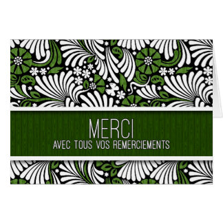 Merci French Thank You Green and White Fern Blank Card