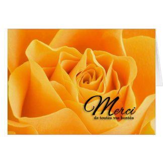 Merci French Thank You Yellow Rose Blank Card