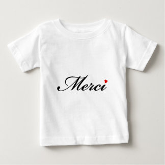 Merci, French word art with red heart Tshirt