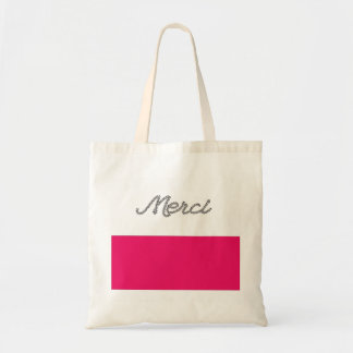 Merci French Word Thank You Pink Typography Cute Tote Bag