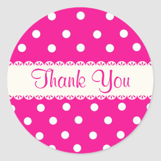 Merci Fuschia rose et autocollant blanc de point