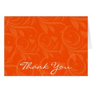 Merci graphique rose de mariage d'orange cartes