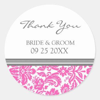 Merci gris rose de damassé épousant des étiquettes sticker rond