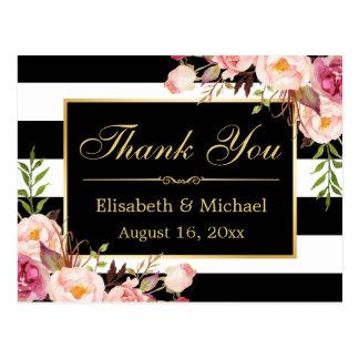 Merci - le blanc noir floral barre le cadre d'or carte postale