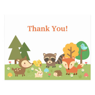 Merci mignon d'animal de région boisée cartes postales