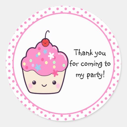 Merci mignon de petit gâteau adhésif rond