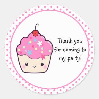 Merci mignon de petit gâteau sticker rond