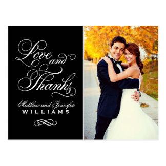 Merci noir de mariage d'amour et de mercis   carte postale