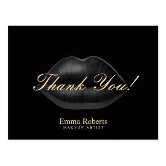 Merci noir de salon de beauté de lèvres de carte postale